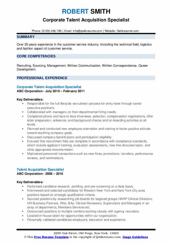 Corporate Talent Acquisition Specialist Resume Sample