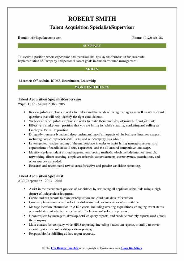 Talent Acquisition Specialist/Supervisor Resume Format