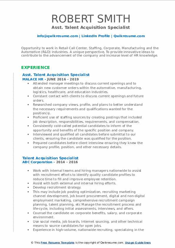 Asst. Talent Acquisition Specialist Resume Example