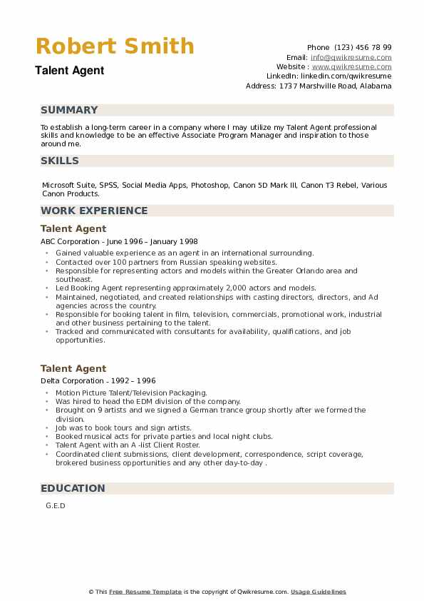 Talent Agent Resume example