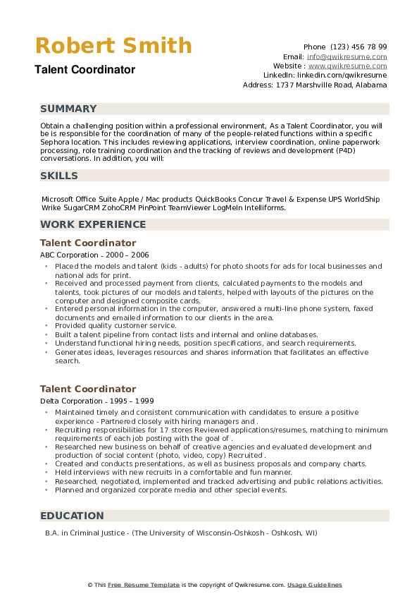 Talent Coordinator Resume example
