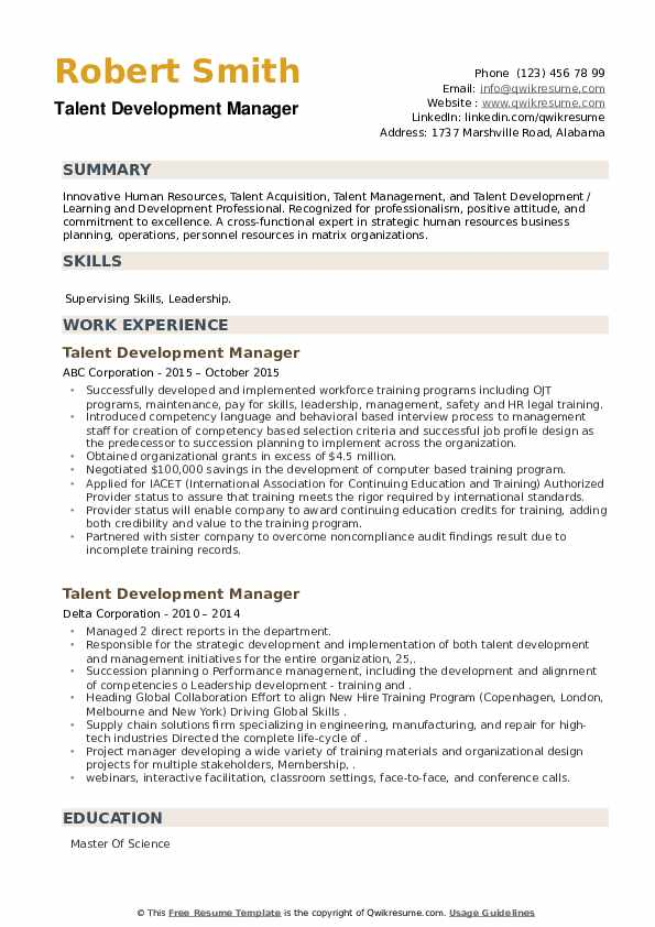 Talent Development Manager Resume example