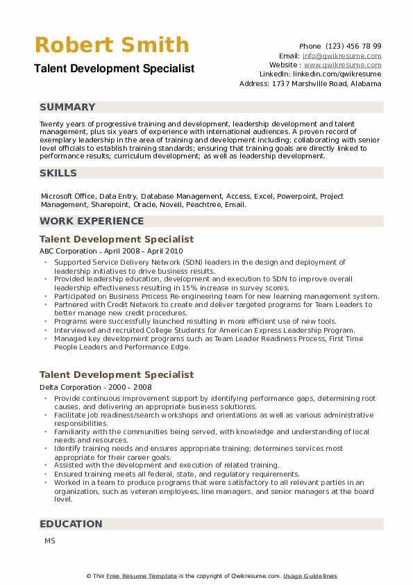 Talent Development Specialist Resume example