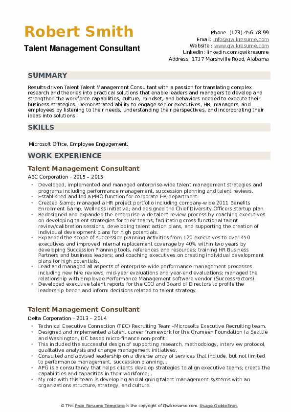 Talent Management Consultant Resume example