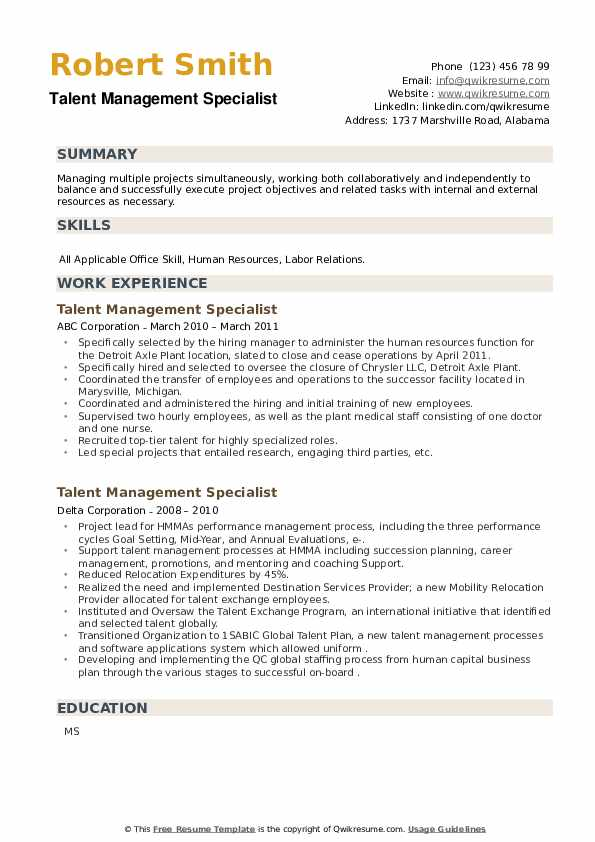 Talent Management Specialist Resume example
