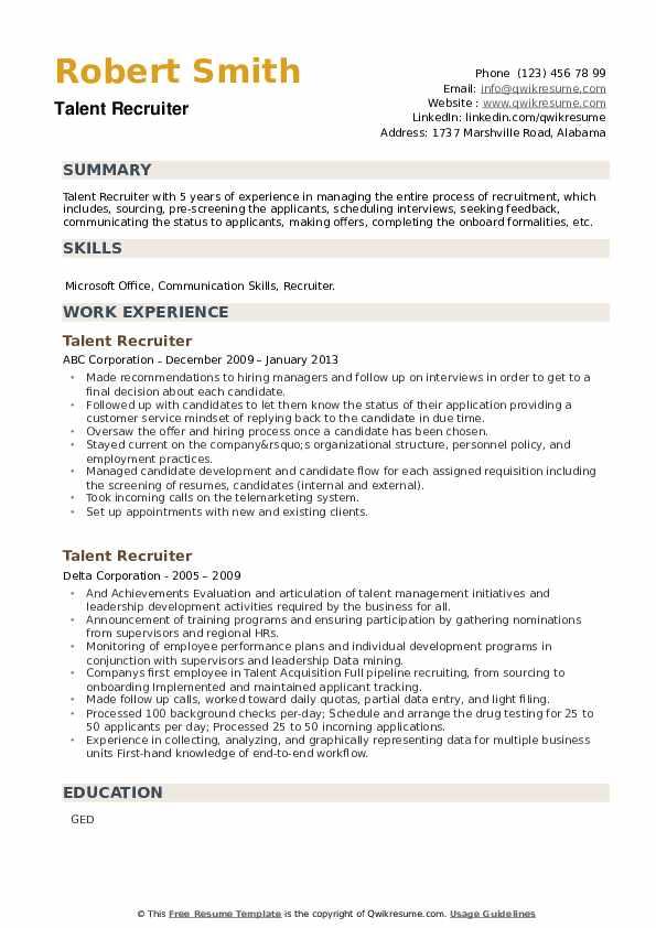 Talent Recruiter Resume example