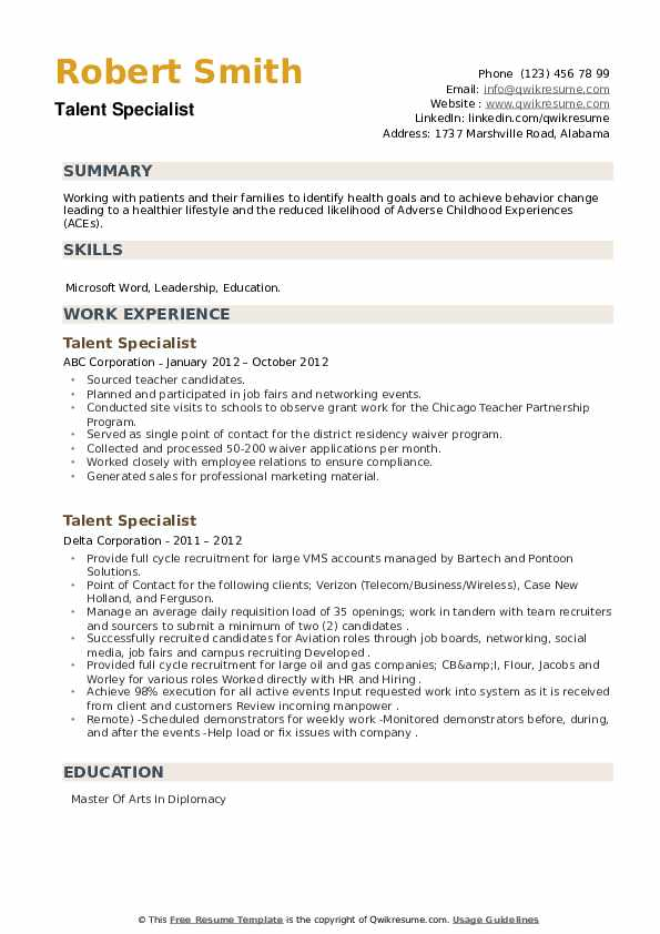 Talent Specialist Resume example