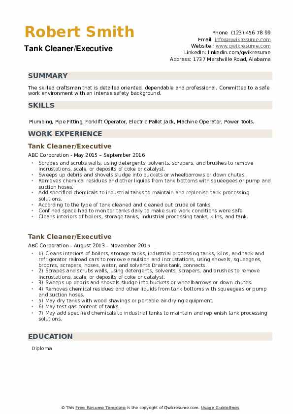 Tank Cleaner Resume Samples Qwikresume
