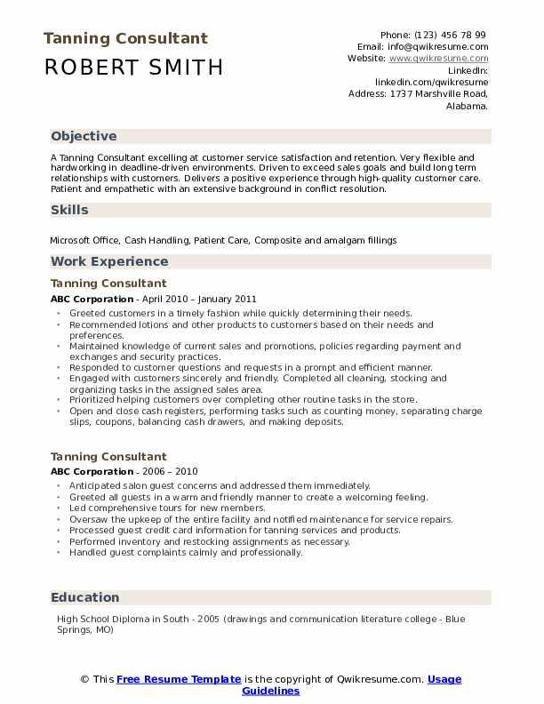 Tanning Consultant Resume Samples Qwikresume