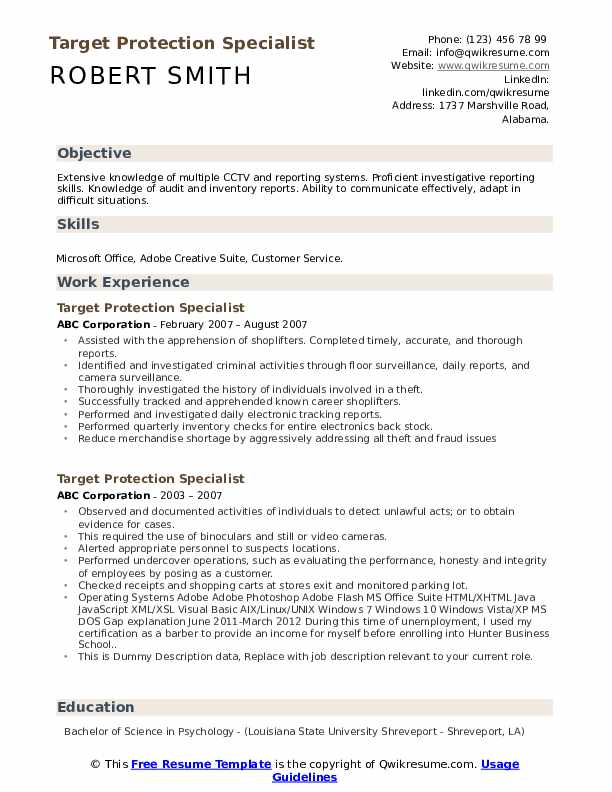 Target Protection Specialist Resume example