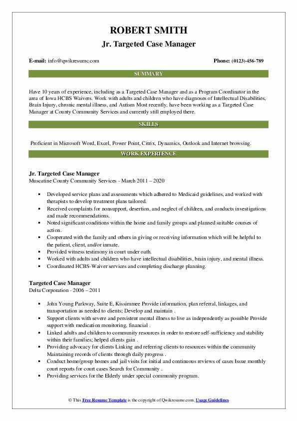 targeted case manager resume samples  qwikresume