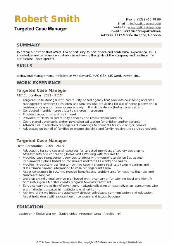 Targeted Case Manager Resume example