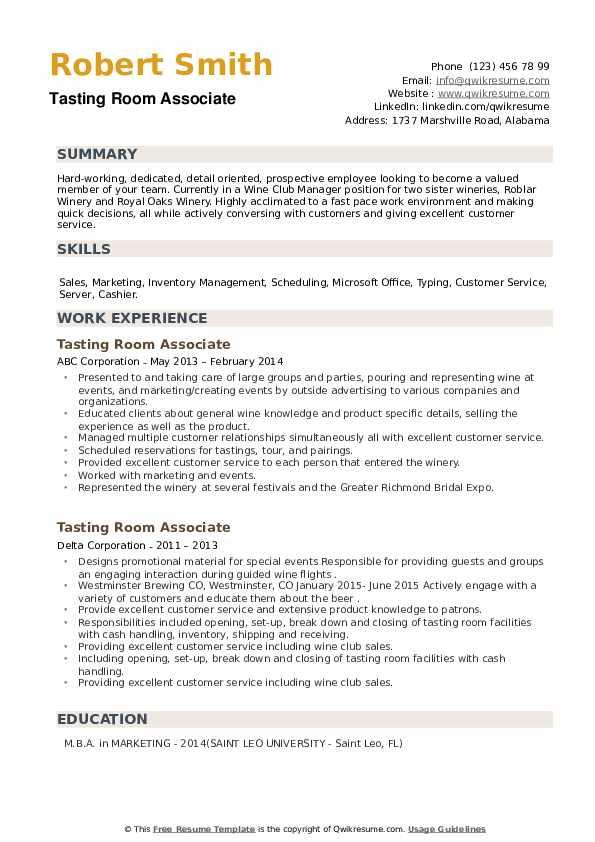 Tasting Room Associate Resume example