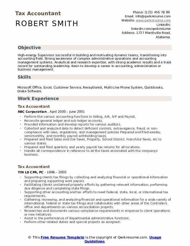 Tax Accountant Resume Samples | QwikResume