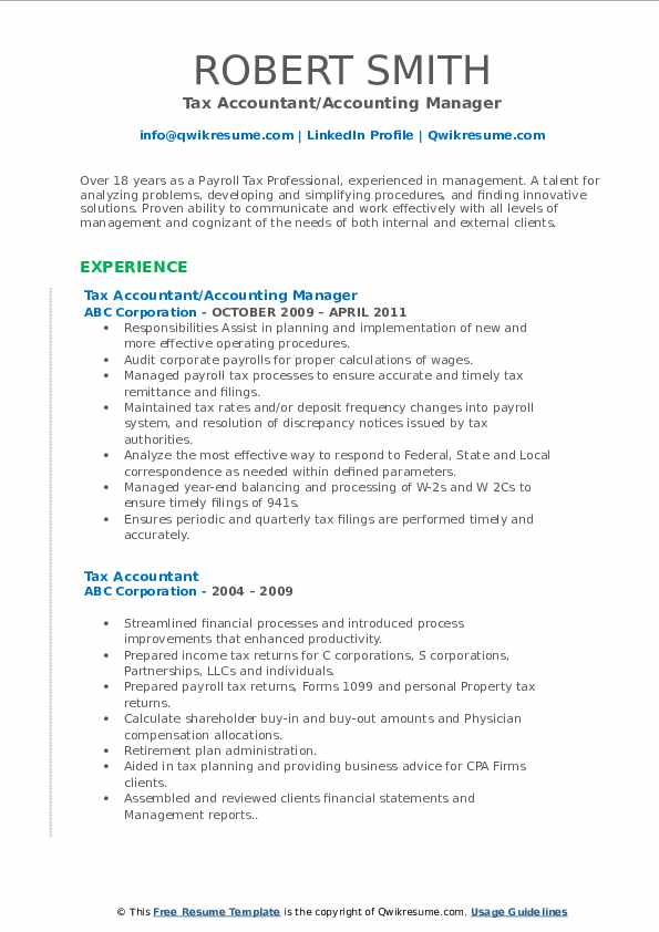 Tax Accountant Resume Samples Qwikresume