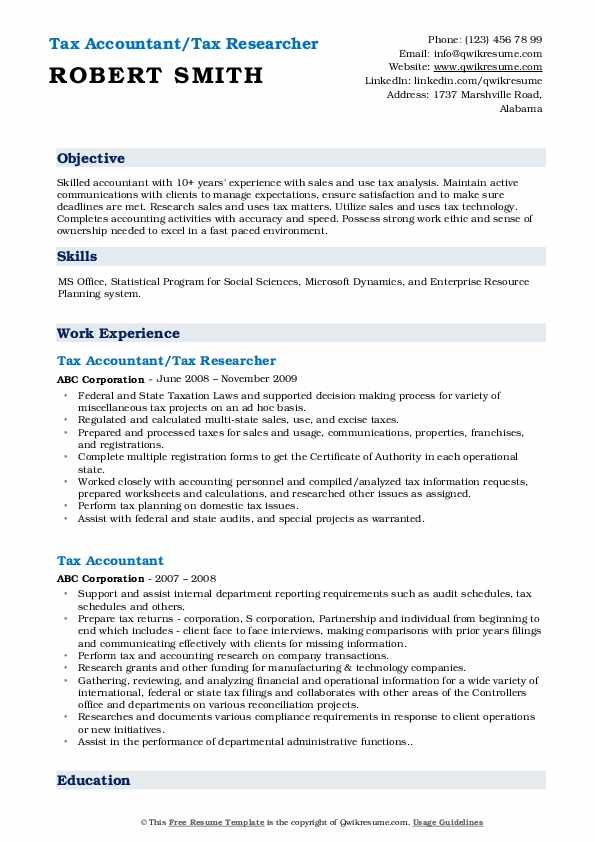 Tax Accountant/Tax Researcher Resume Format