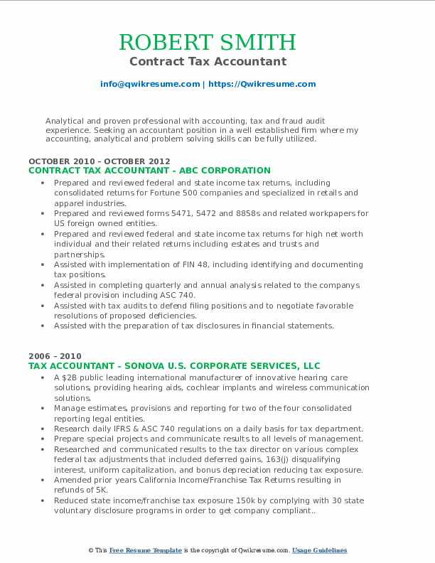 Contract Tax Accountant Resume Model