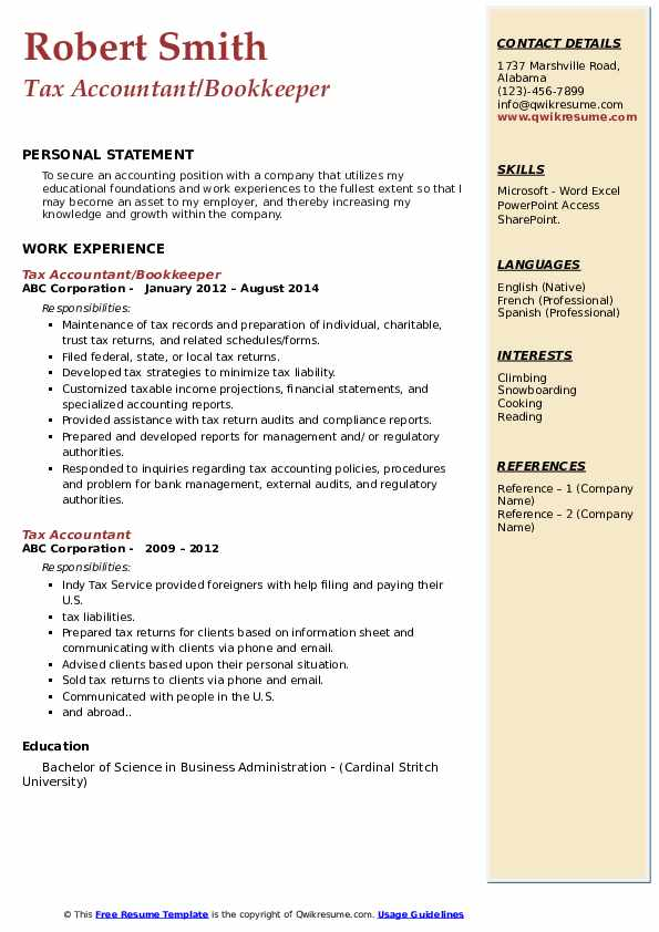Tax Accountant/Bookkeeper Resume Format