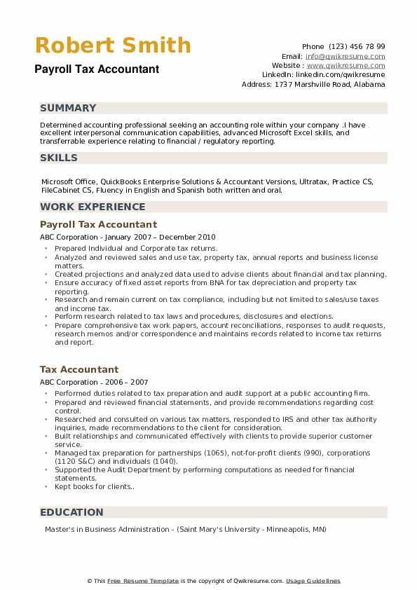 Payroll Tax Accountant Resume Model