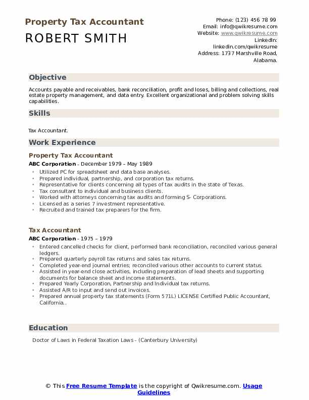 Property Tax Accountant Resume Format