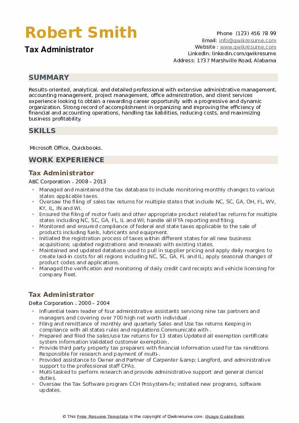 Tax Administrator Resume example