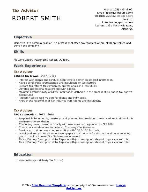 Tax Advisor Resume example