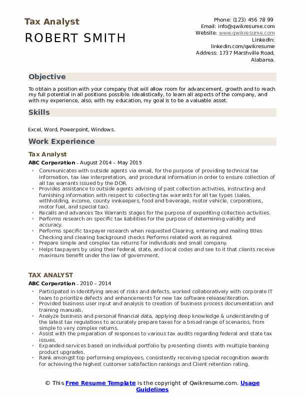 Tax Analyst Resume Template