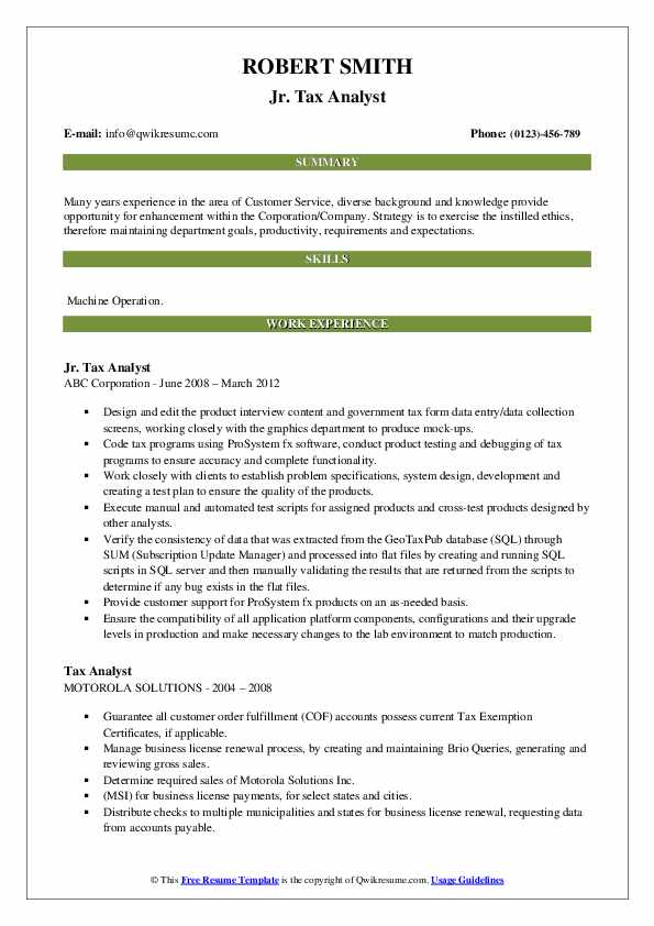 tax analyst resume samples