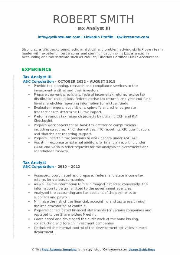 Tax Analyst III Resume Model