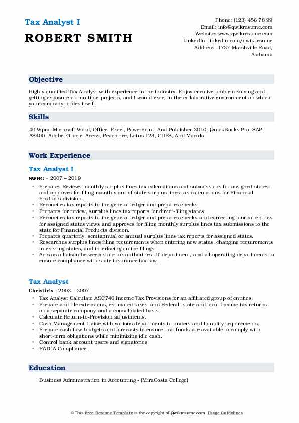 Tax Analyst I Resume Sample