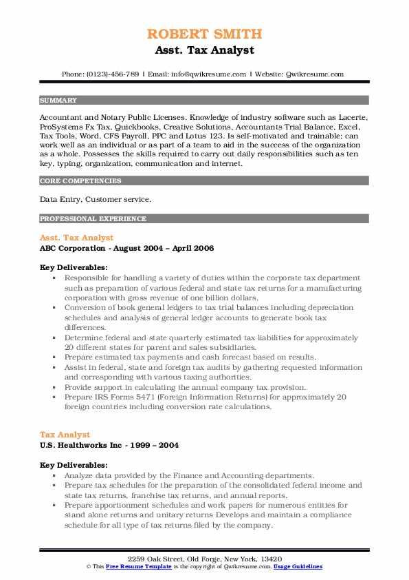 Asst. Tax Analyst Resume Format