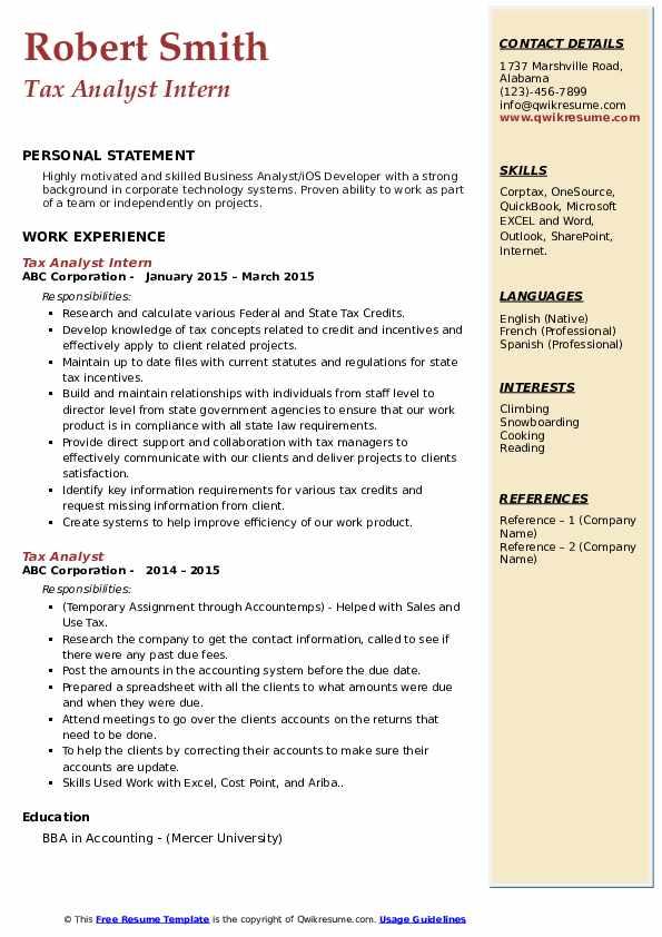 Tax Analyst Intern Resume Model