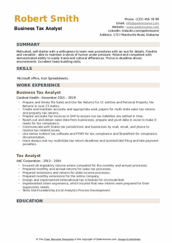 Business Tax Analyst Resume Example