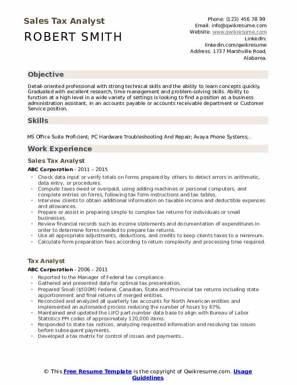 Sales Tax Analyst Resume Example