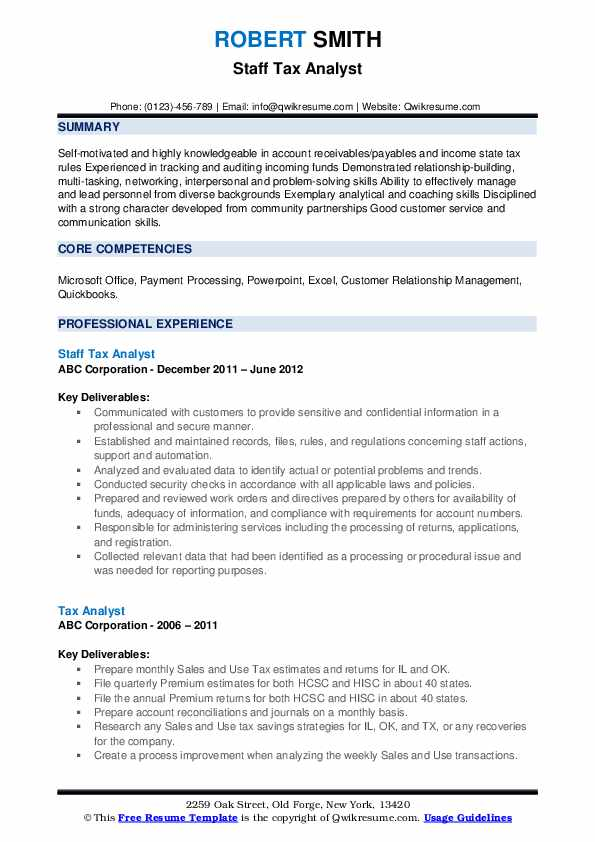 Staff Tax Analyst Resume Example