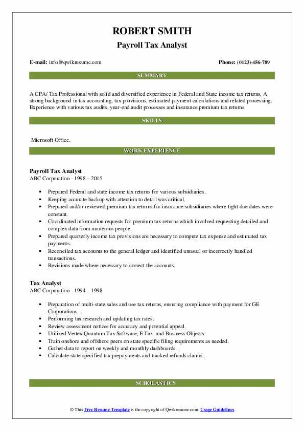Payroll Tax Analyst Resume Format