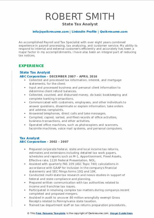 State Tax Analyst Resume Model