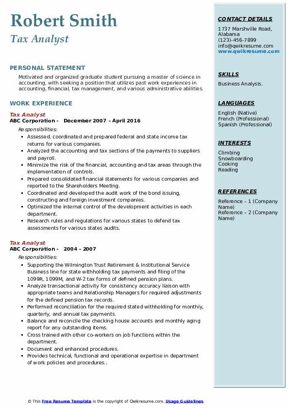 Tax Analyst Resume example