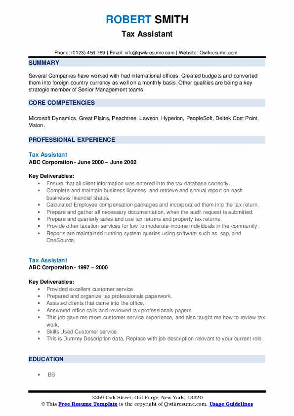 Tax Assistant Resume example