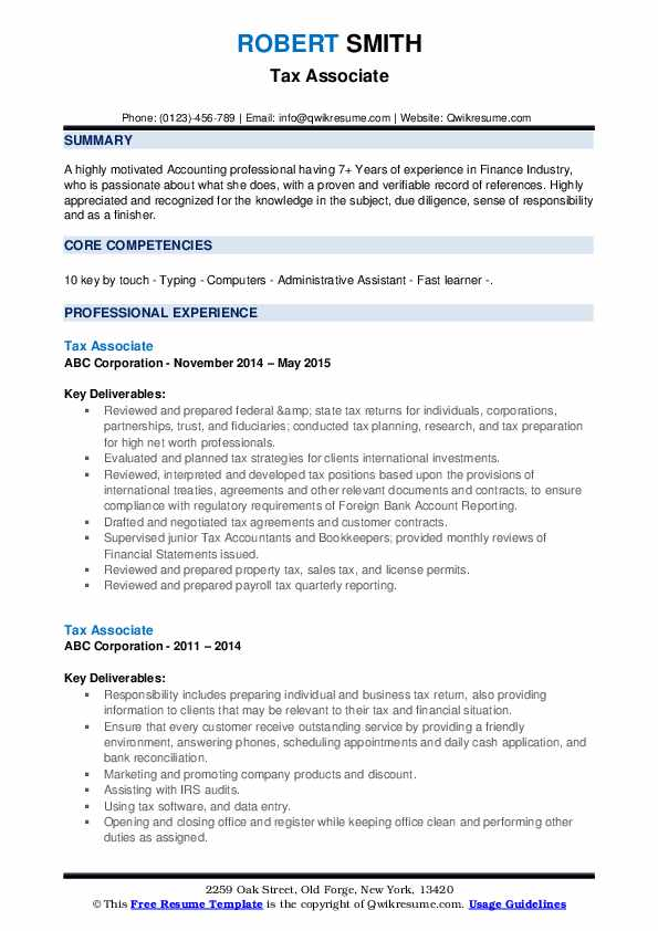 Tax Associate Resume example