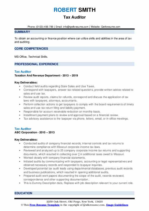 Tax Auditor Resume example