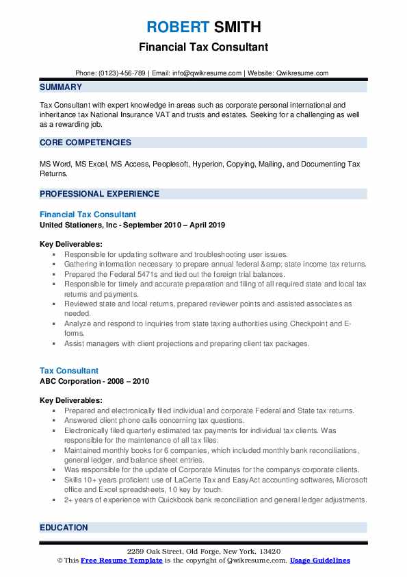 Financial Tax Consultant Resume Example