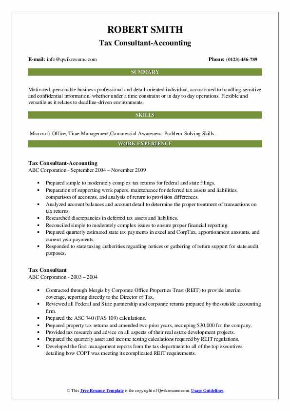Tax Consultant-Accounting Resume Sample