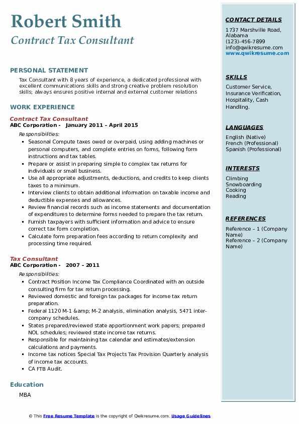 Contract Tax Consultant Resume Model