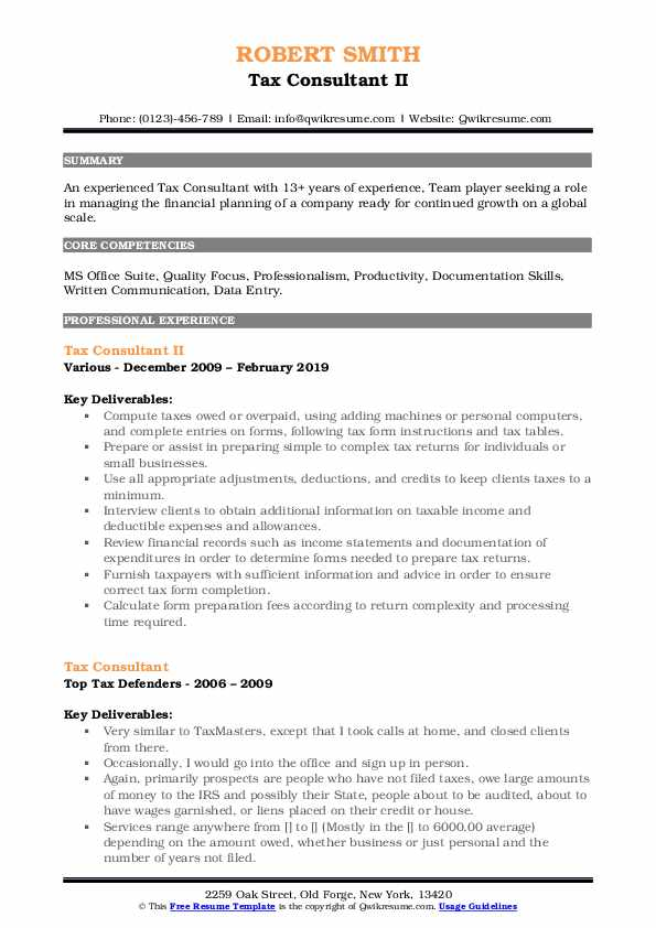 Tax Consultant II Resume Template