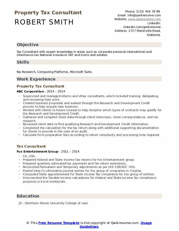 Property Tax Consultant Resume Model