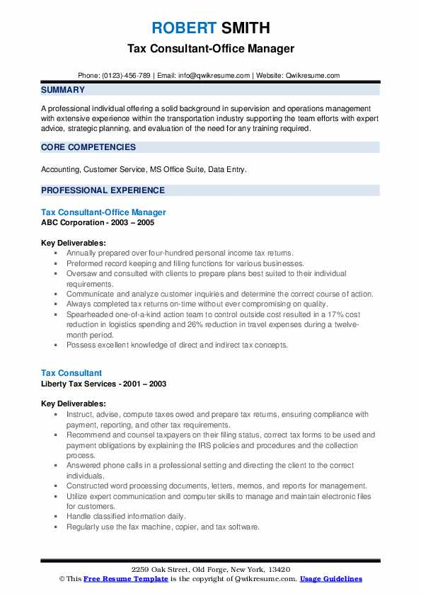 Tax Consultant-Office Manager Resume Sample
