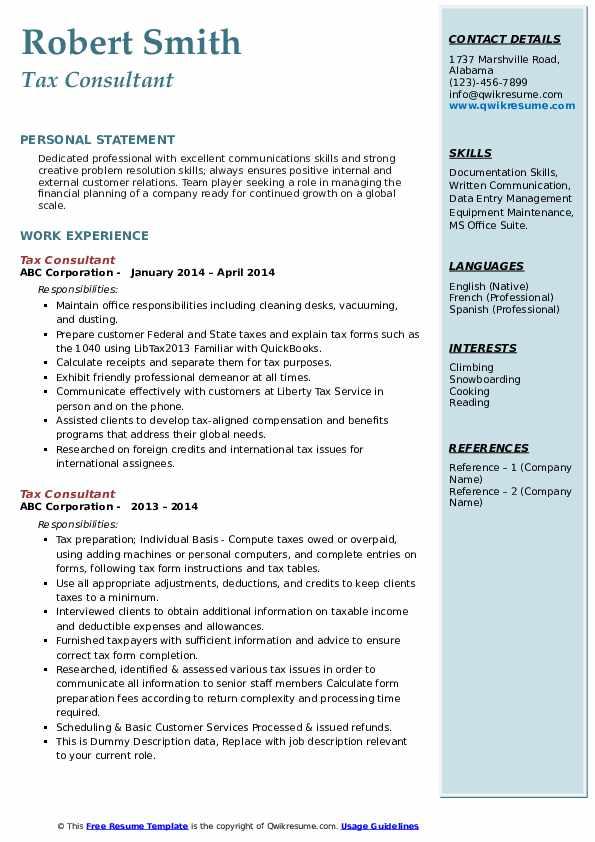 Tax Consultant Resume example