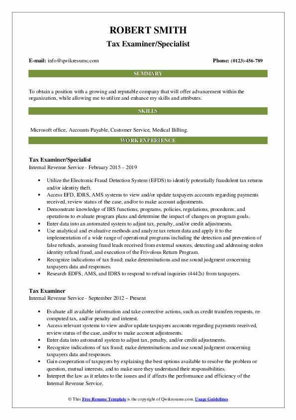Tax Examiner/Specialist Resume Format