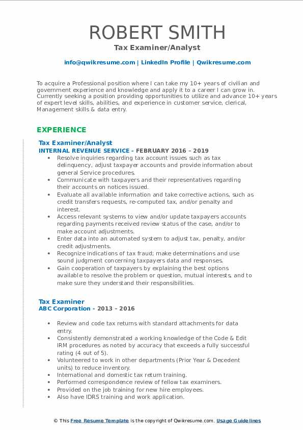 Tax Examiner/Analyst Resume Example